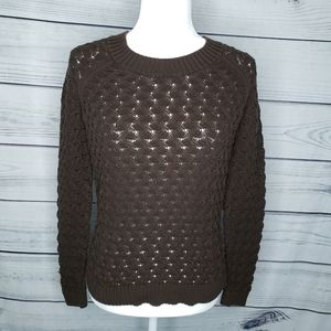 Ann Taylor LOFT brown cable knit pullover sweater